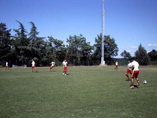 I giocatatori del San Quirico prima dell'incontro di Coppa con il Sorano